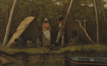 A painting depicting a family among dense bushland, standing by a river with a tied, floating canoe.