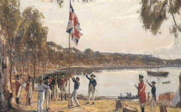 A painting depicting group of uniformed colonists raise and salute the Union Jack.