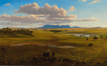 A painting of a vast green landscape, with looming peaks lurking in the background.