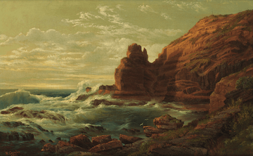 A painting depicting waves crashing rocky seaside cliffs under a darkened yellowish sky.