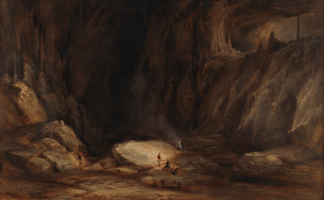 A painting depicting a large cavern with a high ceiling; two people gather in the centre with a dog and one person is exploring.