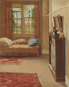 A painting depicting one side of a tidy room, with an open window, cushions on a bed, knick-knacks on a bookshelf.