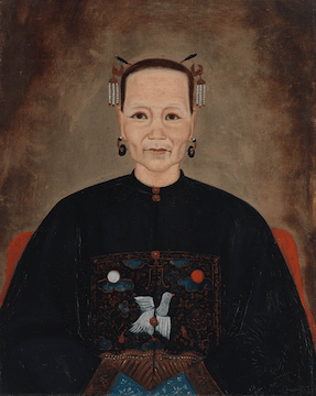 A painted portrait depicting an older woman with Vietnamese features and dress.