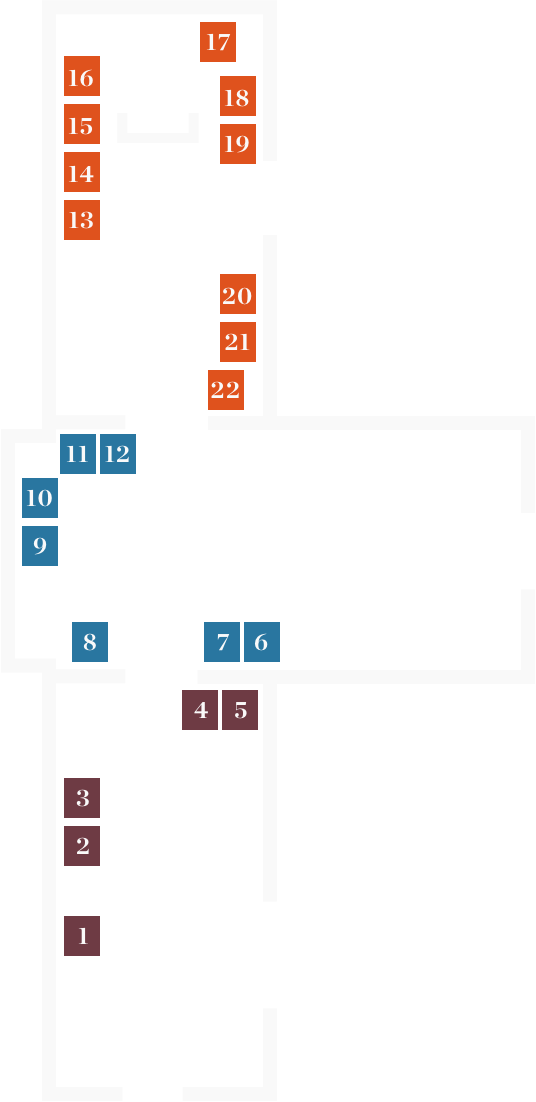 Floor plan of the State Library of New South Wales galleries, showing three rooms and all points of interest.