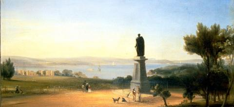 A painting of a bronze statue on a plinth overlooking a picturesque harbour - dogs and people mill nearby.