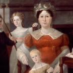 Oil painting of a woman in a red colonial gown, surrounded by four children.