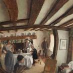 A circular painting of a cottage interior as though seen in a convex mirror.