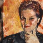 A colourful expressive oil painting portrait of a young woman with short hair.