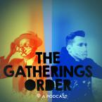 The Gatherings Order podcast cover image. Depicts two people wearing masks, one in 1919 clothing, one in 2020 clothing.