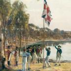 Oil painting of the Union Jack flag being raised on the shore of a bay. Men in colonial military uniform watch on.