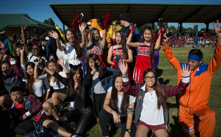 Elizabeth's students, cheering at a sports festival.