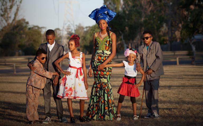 The Kisimba children in sapeur fashion.