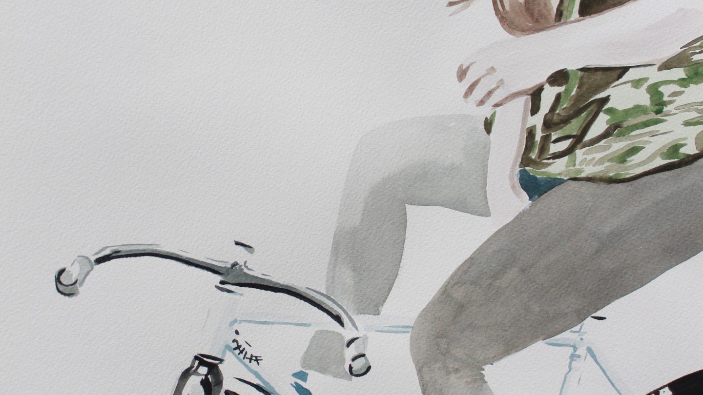 Daniel Brock cycling illustrations at Jugglers Gallery