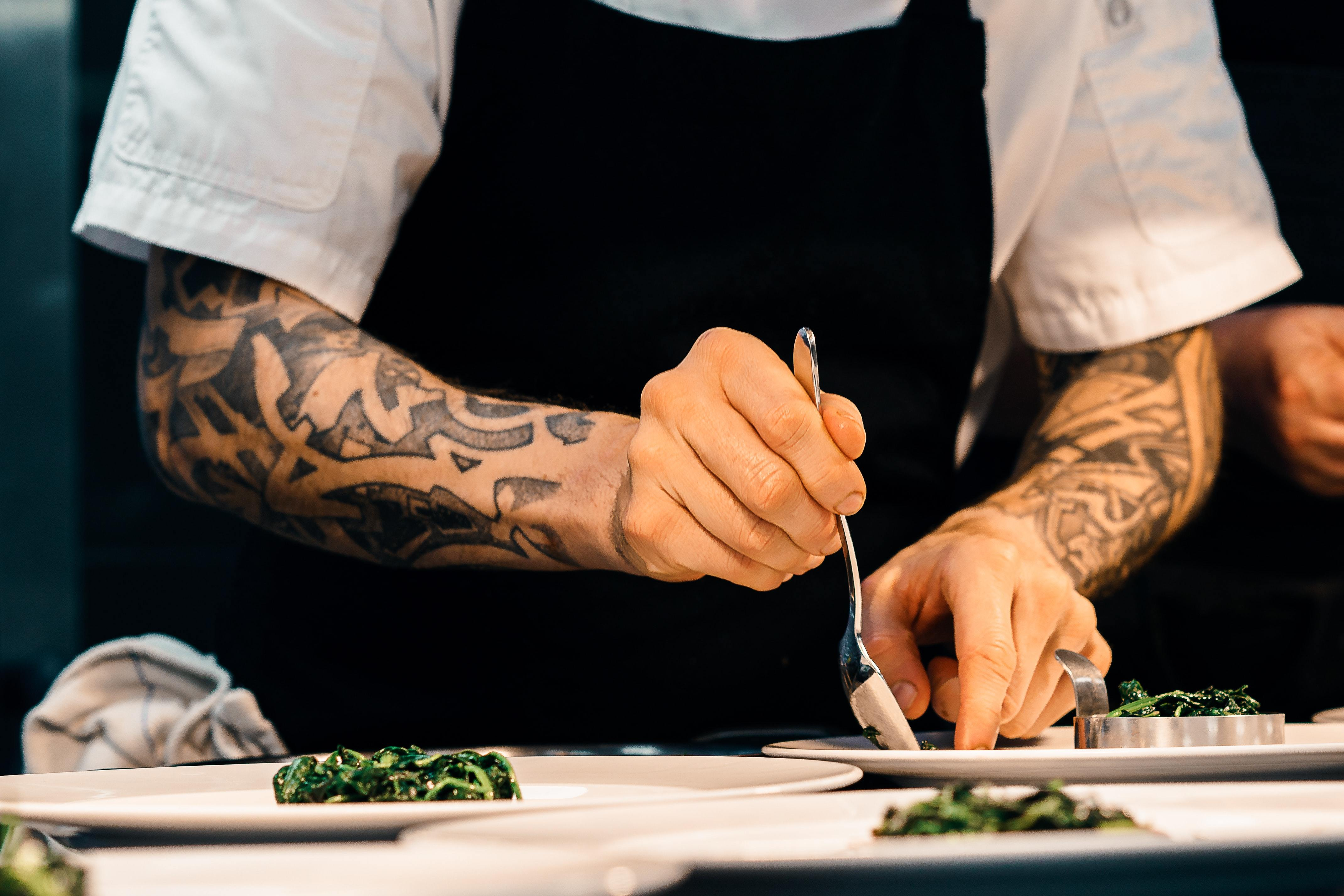 Chef plating up food