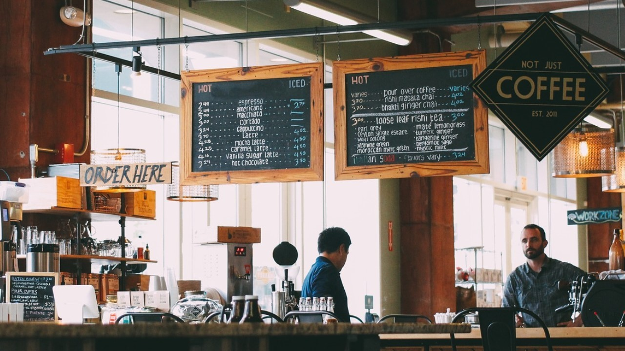 Menu in a cafe