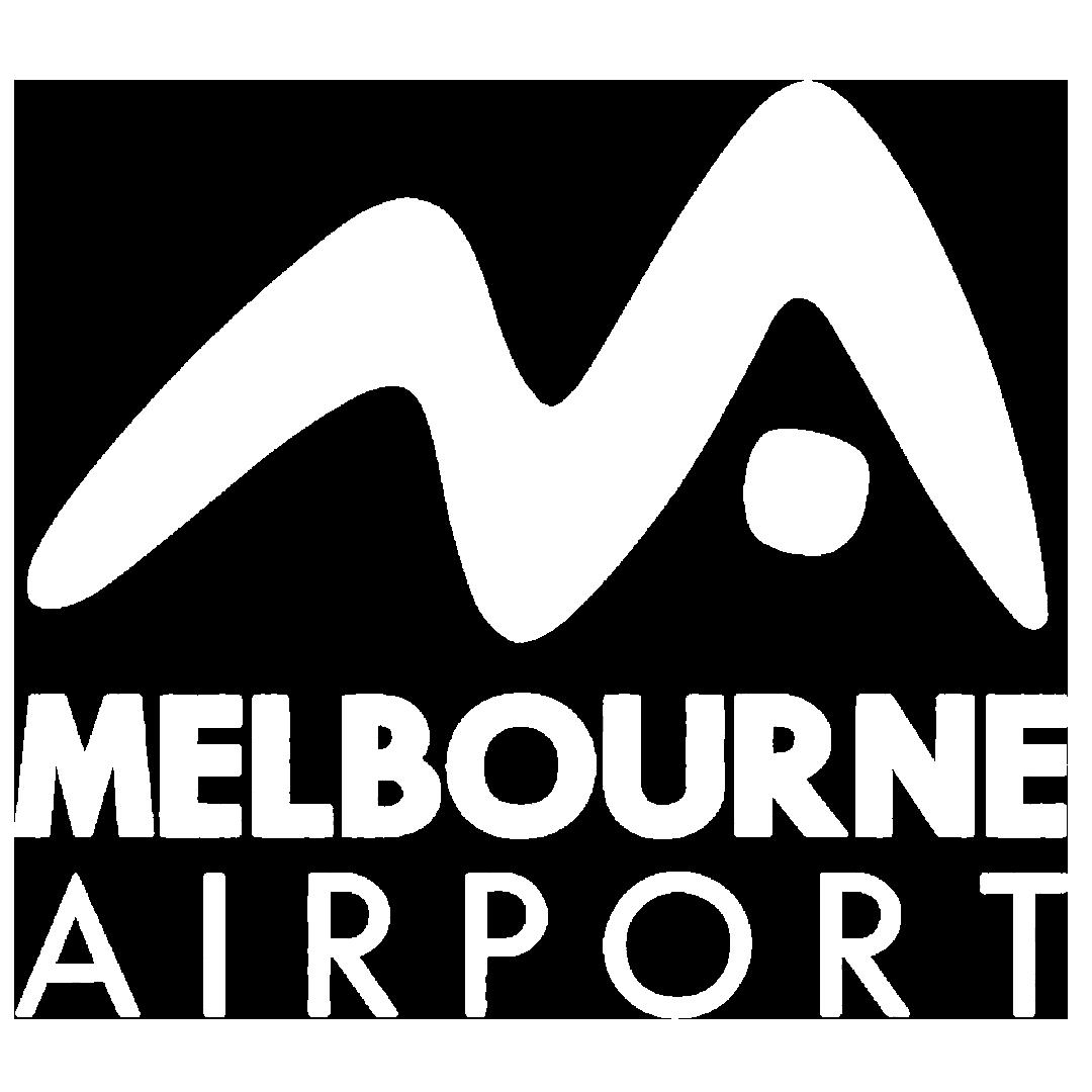 Mel airport white logo