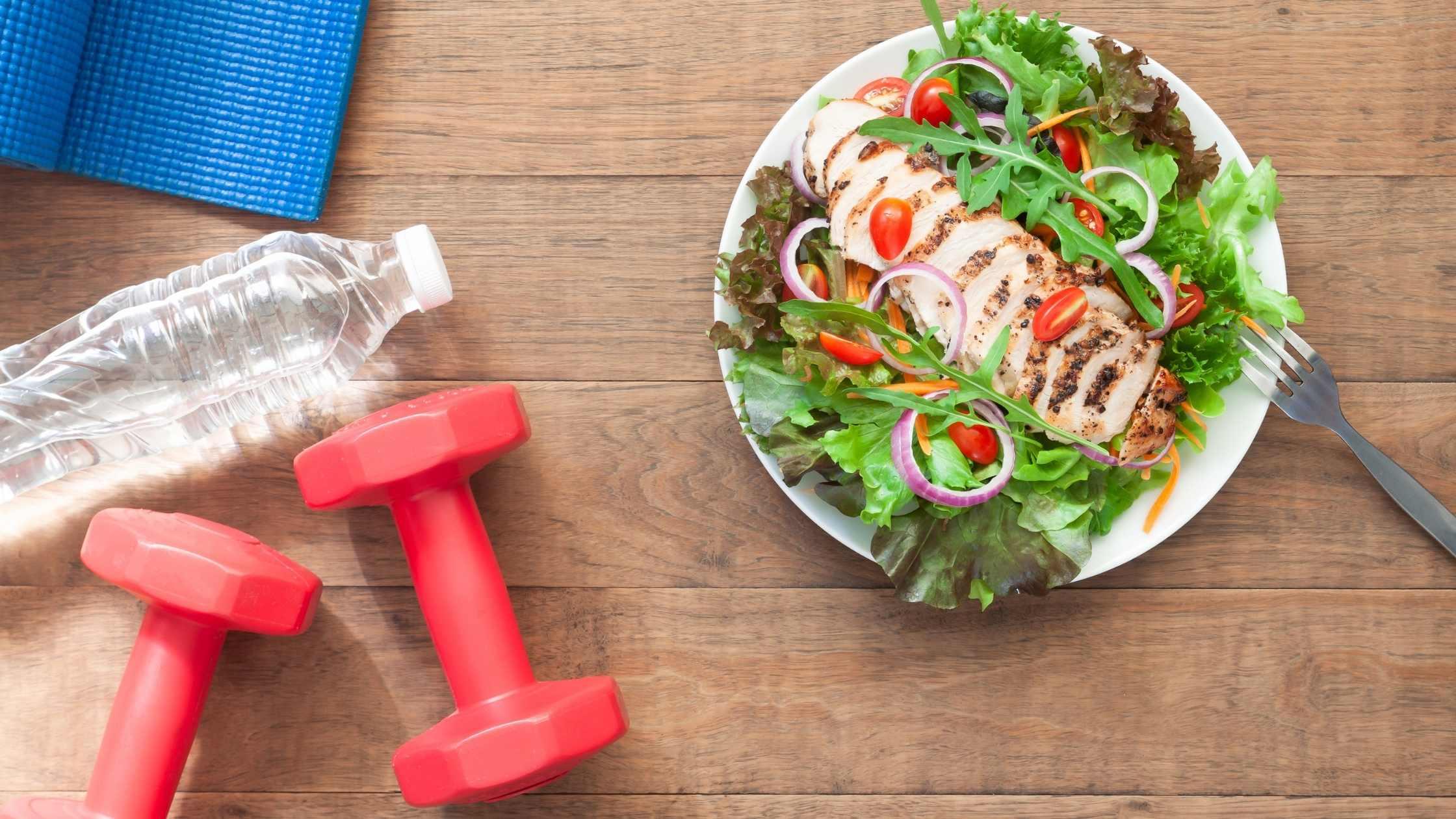 building healthy habits weights salad water