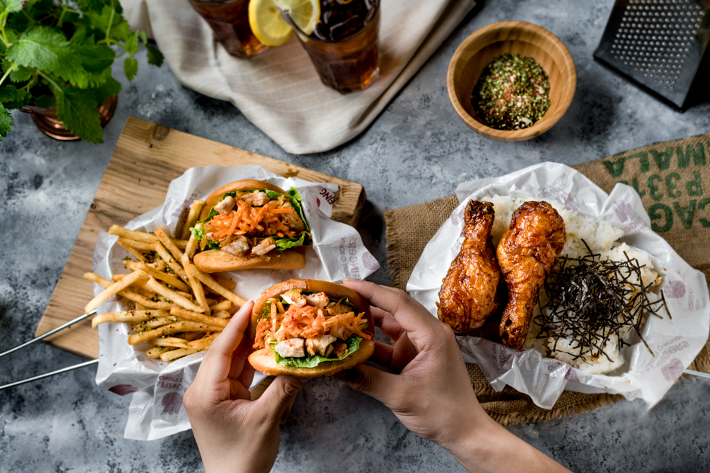 A selection of chicken burgers from 4FINGERS.