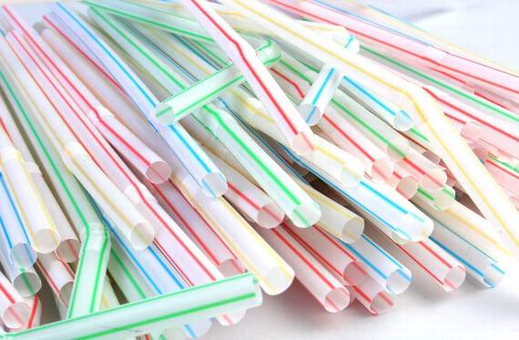 Single-use plastic will be banned by the SA government. Pictured: lots of colourful single-use plastic straws.