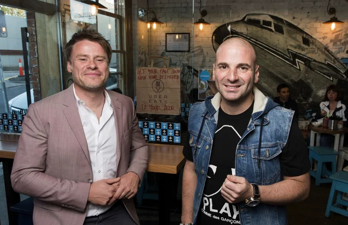 Made Establishment's Radek Sali and George Calombaris looking into camera smiling