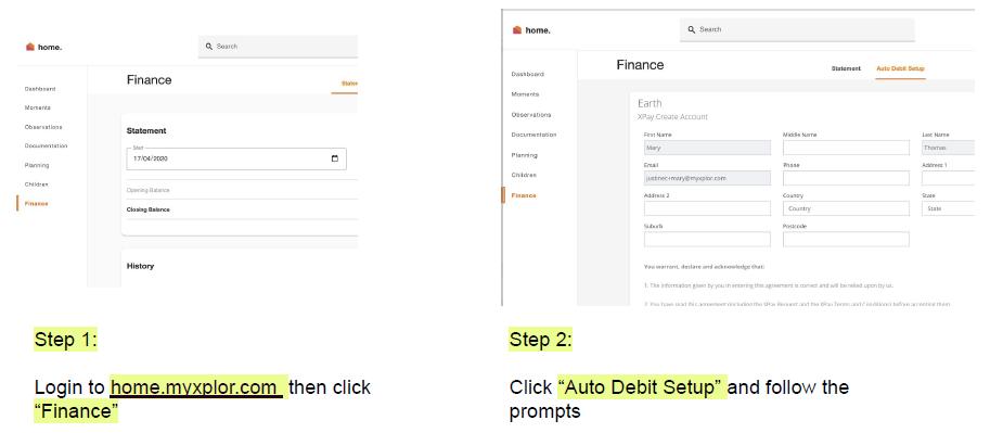 payment details via web