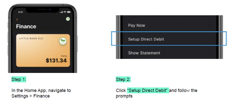 payment details via app